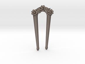 Hairfork Flower Arch 4cm hair fork in Polished Bronzed Silver Steel