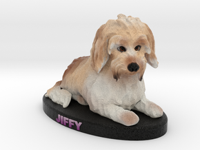 Custom Dog Figurine - Jiffy in Full Color Sandstone