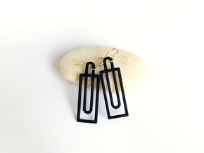 Simple Geometry - Modern Earrings with Clean Lines in Black Strong & Flexible