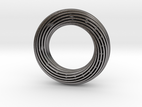 0161 Torus of Doubly Twisted Strips (p=1, d=10cm) in Polished Nickel Steel