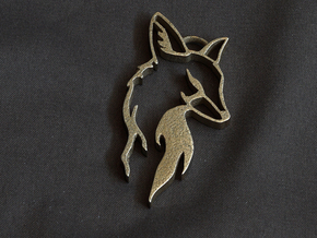 Fox Pendant in Polished Bronzed Silver Steel