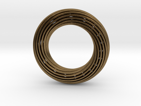 0162 Torus of Doubly Twisted Strips (p=1, d=5cm) in Natural Bronze