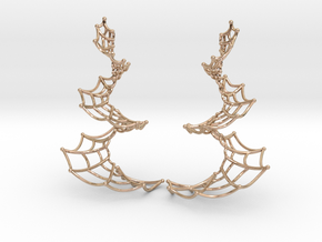 Spiral Spider Web Earrings in 14k Rose Gold Plated Brass