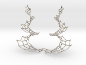 Spiral Spider Web Earrings in Rhodium Plated Brass