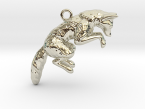 Pouncing Fox in 14k White Gold