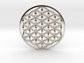 Flower Of Life (no bale)  in Rhodium Plated Brass