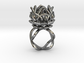 The Lotus Flower Ring / size 7 1/2 US in Polished Silver