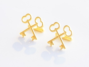 The Society of the Crossed Keys Cufflinks in Polished Gold Steel