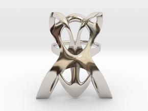 INTERLACE RING (US 7 / GER 55 / Ø inside 17,5 mm) in Rhodium Plated Brass