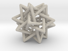 Tetrahedron 5 Compound, round struts in Natural Sandstone