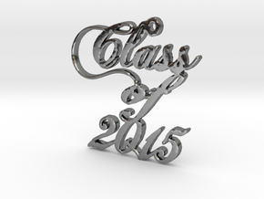 Class of 2015 Script Necklace Pendant in Fine Detail Polished Silver