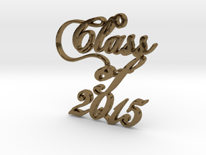 Class of 2015 Script Necklace Pendant in Polished Bronze