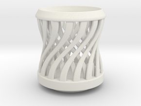 Tea Candle Double Spiral in White Natural Versatile Plastic
