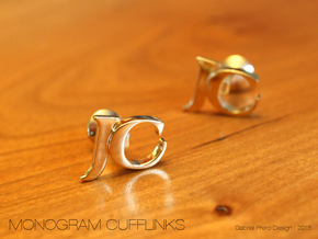 Monogram Cufflinks JC in 18k Gold Plated Brass