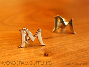 Monogram Cufflinks JM in 18k Gold Plated Brass