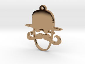 Man With Derby and a Mustache Necklace Pendant in Polished Brass