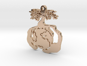 Earth Tree Conservation Necklace Pendant in 14k Rose Gold Plated Brass