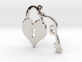 Heart Lock and Key Necklace Pendant in Rhodium Plated Brass
