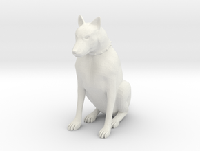 Sitting Dog in White Natural Versatile Plastic
