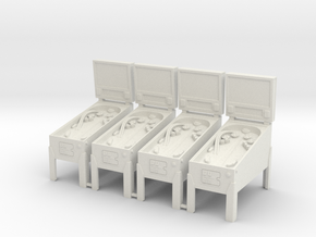 4 X Miniature Pinball Machines in White Natural Versatile Plastic