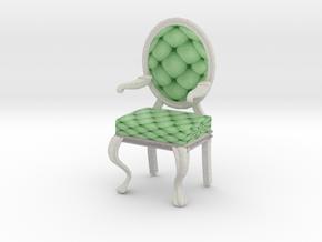1:144 Micro Scale MintWhite Louis XVI Oval Chair in Full Color Sandstone