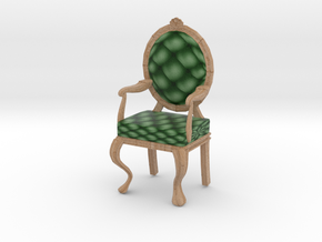 1:12 One Inch Scale PinePale Oak Louis XVI Chair in Full Color Sandstone