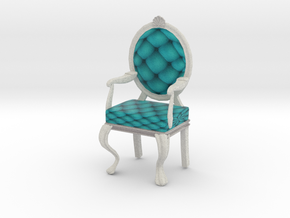1:12 One Inch Scale TealWhite Louis XVI Chair in Full Color Sandstone