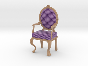 1:12 One Inch Scale LavPale Oak Louis XVI Chair in Full Color Sandstone