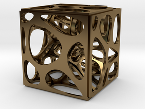 Voronoi cube in Polished Bronze
