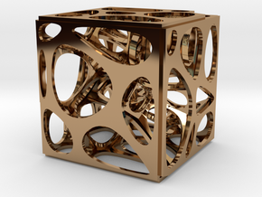 Voronoi cube in Polished Brass