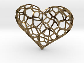 Voronoi heart in Polished Bronze