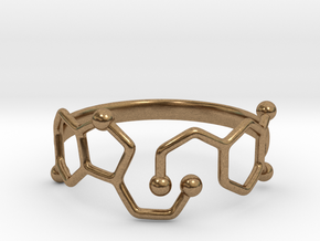 Dopamine Serotonin Molecule Ring - Size 11  in Natural Brass