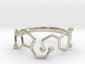 Dopamine Serotonin Molecule Ring - Size 11  in 14k White Gold