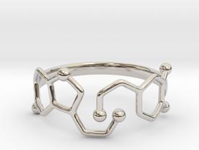 Dopamine Serotonin Molecule Ring - Size 11  in Platinum