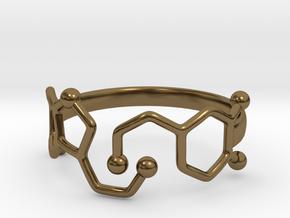 Dopamine Serotonin Molecule Ring Size10 in Polished Bronze