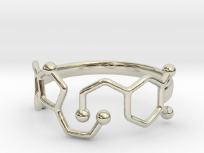 Dopamine Serotonin Molecule Ring Size10 in 14k White Gold