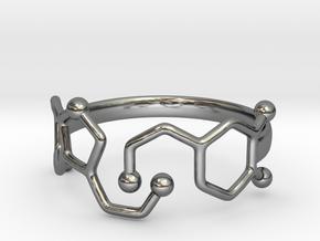 Dopamine Serotonin Molecule Ring Size10 in Fine Detail Polished Silver