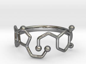 Dopamine Serotonin Molecule Ring  Size 9 in Fine Detail Polished Silver