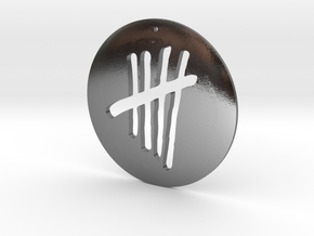 Tally Mark Pendant style 1 in Polished Silver