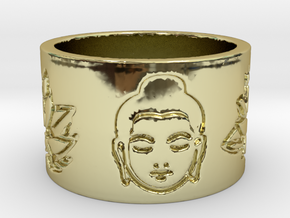 Buddha Lotus Flat Ring Size 4.5 in 18k Gold Plated Brass