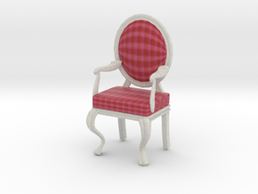 1:12 Scale Red/Pink Plaid/White Louis XVI Chair in Full Color Sandstone