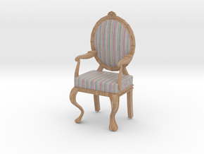 1:12 Scale Pastel Striped/Pale Oak Louis XVI Chair in Full Color Sandstone