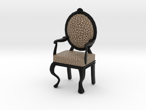 1:12 Scale Cheetah/Black Louis XVI Chair in Full Color Sandstone