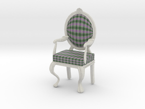 1:12 Scale Green Purple Plaid/White Louis XVI Chai in Full Color Sandstone