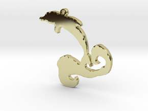 Dolphin Wave Necklace Pendant in 18k Gold Plated Brass