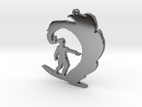 Surfer on a Wave Necklace Pendant in Fine Detail Polished Silver