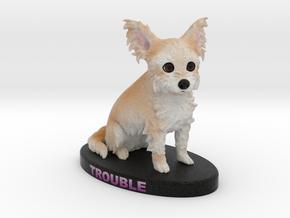 Custom Dog Figurine - Trouble in Full Color Sandstone