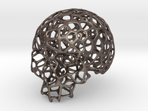 Wired Skull in Polished Bronzed Silver Steel