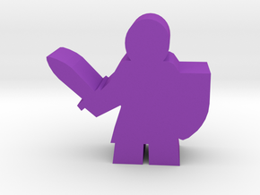 Knight Meeple, with sword and shield in Purple Processed Versatile Plastic