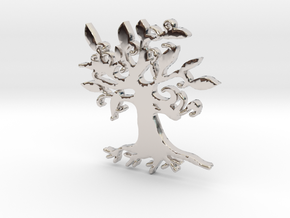 Swirly Tree Necklace Pendant in Rhodium Plated Brass
